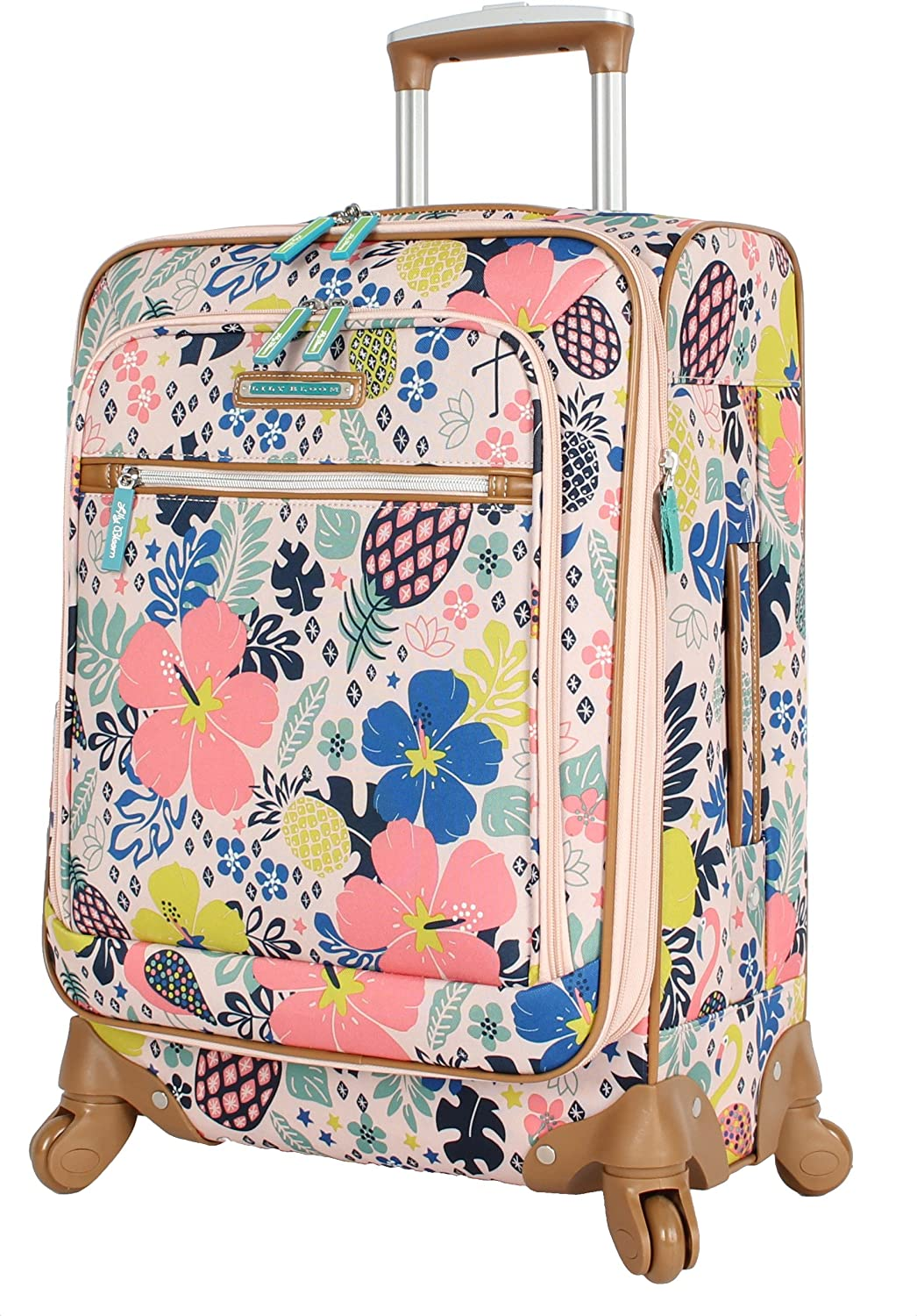 Lily Bloom Luggage Carry On Expandable Design Pattern Suitcase For Woman With Spinner Wheels (Trop Pineapple, 20in)