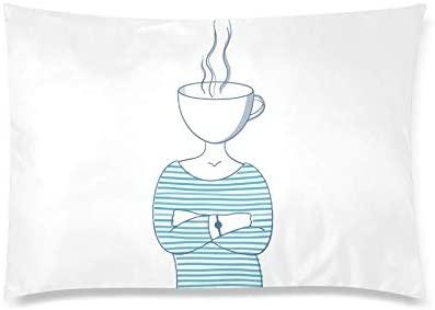 InterestPrint Funny Girl with a Mug of Tea Rectangle Pillow Case Cover Queen Size 20x30 Inch, Decorative Zippered Pillowcase Protector Home Decor