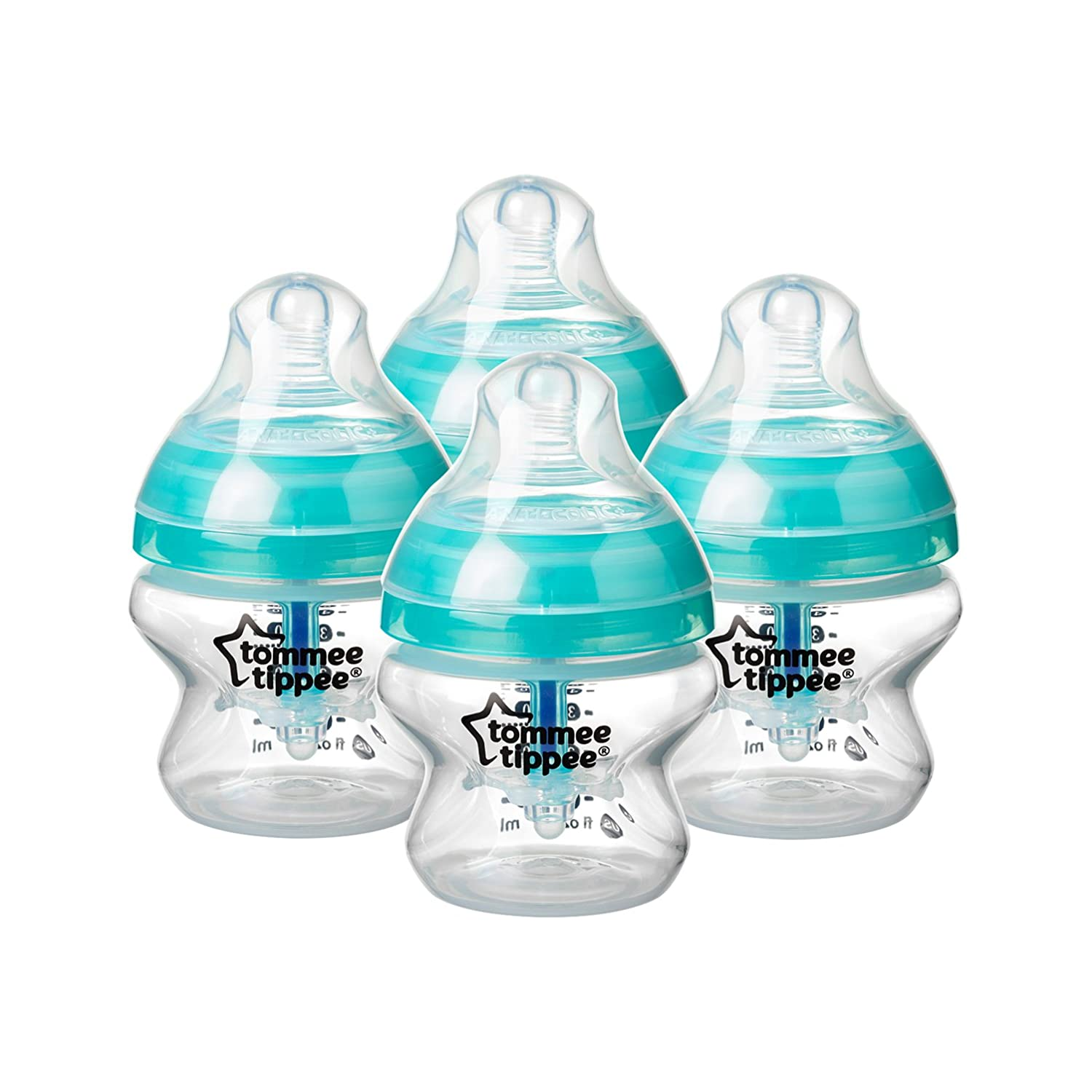 Tommee Tippee Advanced Anti-Colic Baby Bottle, Slow Flow Breast-Like Nipple, Heat-Sensing Technology, BPA-Free - 5 Ounce, 4 Count