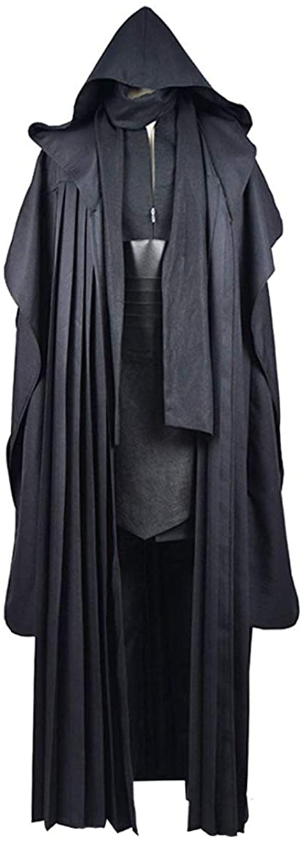Rongxu Mens Black Tunic Hooded Robe Pants with Belt Full Set Adult Tunic Costume Classic Halloween Cosplay Outfit US Size