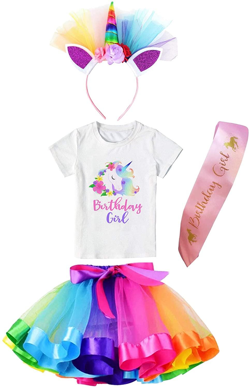Girls Layered Tutu Skirt with Unicorn Tshirt, Headband & Satin Sash (Rainbow Unicorn Flower, 3-4 Years)