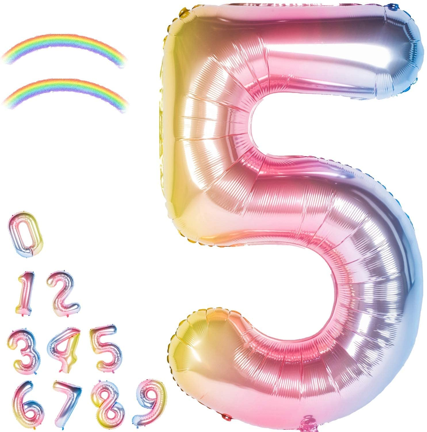 40 Inch Giant Foil Balloons Gradient Color Number Ballons Rainbow Party Balloons,Number 5