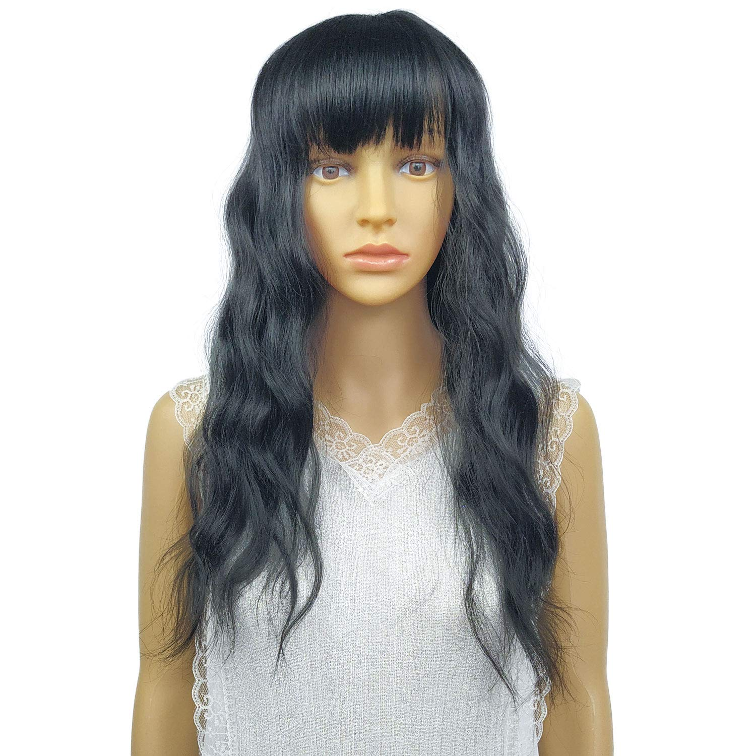 TANRAIN A woman with a wig with long curls and large waves Synthetic wigs Heat-resistant man-made fibre Party costume party All code A variety of colors are available (Dark Black)