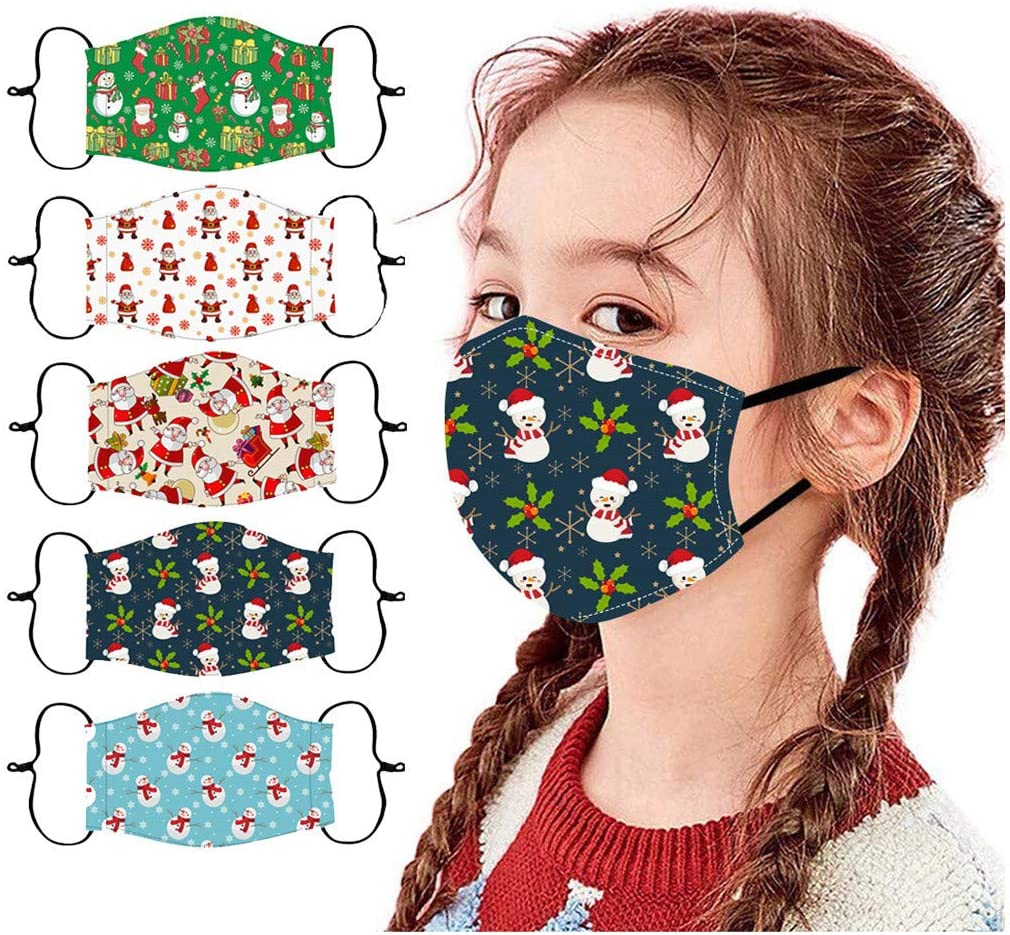 5 Pc Washable Reusable Face_Mask for Kids,Stylish Christmas Pattern Print Dust Bandanas for Protection