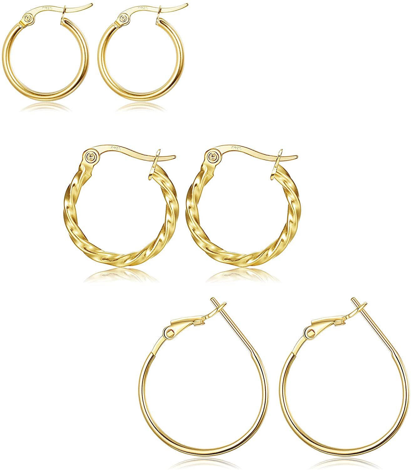 Sllaiss 3 Pairs Sterling Silver Small Hoop Earrings Set Twisted Click Top Hoop Earrings High Polished Round Earring for Women 10mm-15mm