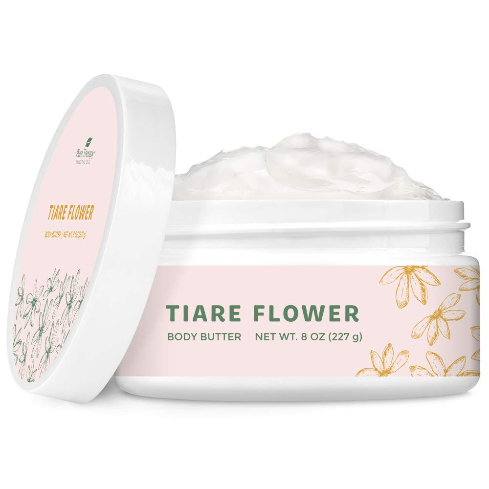 Plant Therapy Tiare Flower Whipped Shea Body Butter 8 oz 100% Vegan, Sweet, Fruity and Attractive Floral Scent