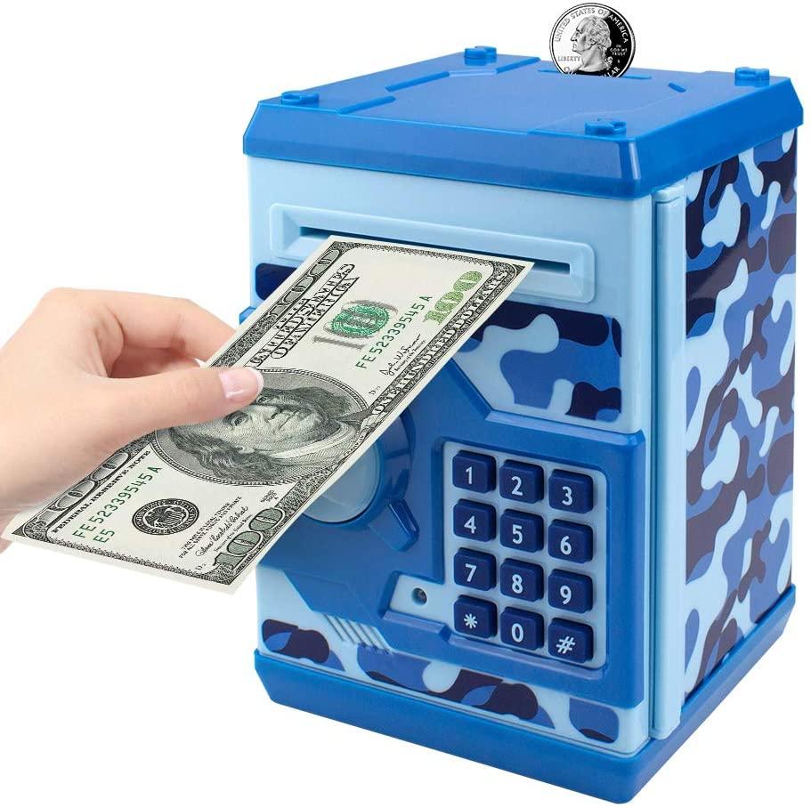 Yanaze Kids Money Bank, Electronic Password Piggy Bank Cash Coin Money Saving Box for Kids Mini ATM Toy Gift for Children Boys Girls (Camouflage Blue)