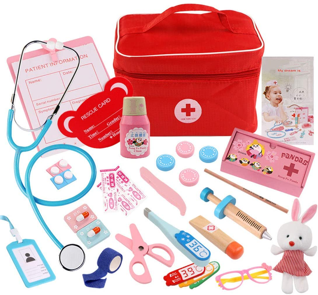 Wooden Doctor Kits Toddler Pretend Play Doctor Toys Medical Simulation Playset Dentist Medicine Kit Role Play for Kids (Doctor Set)