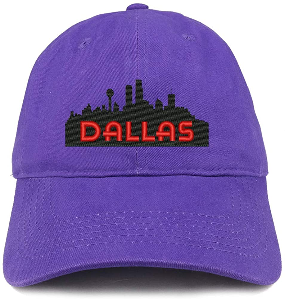 Trendy Apparel Shop Dallas Texas Skyline Embroidered 100% Cotton Adjustable Cap Dad Hat