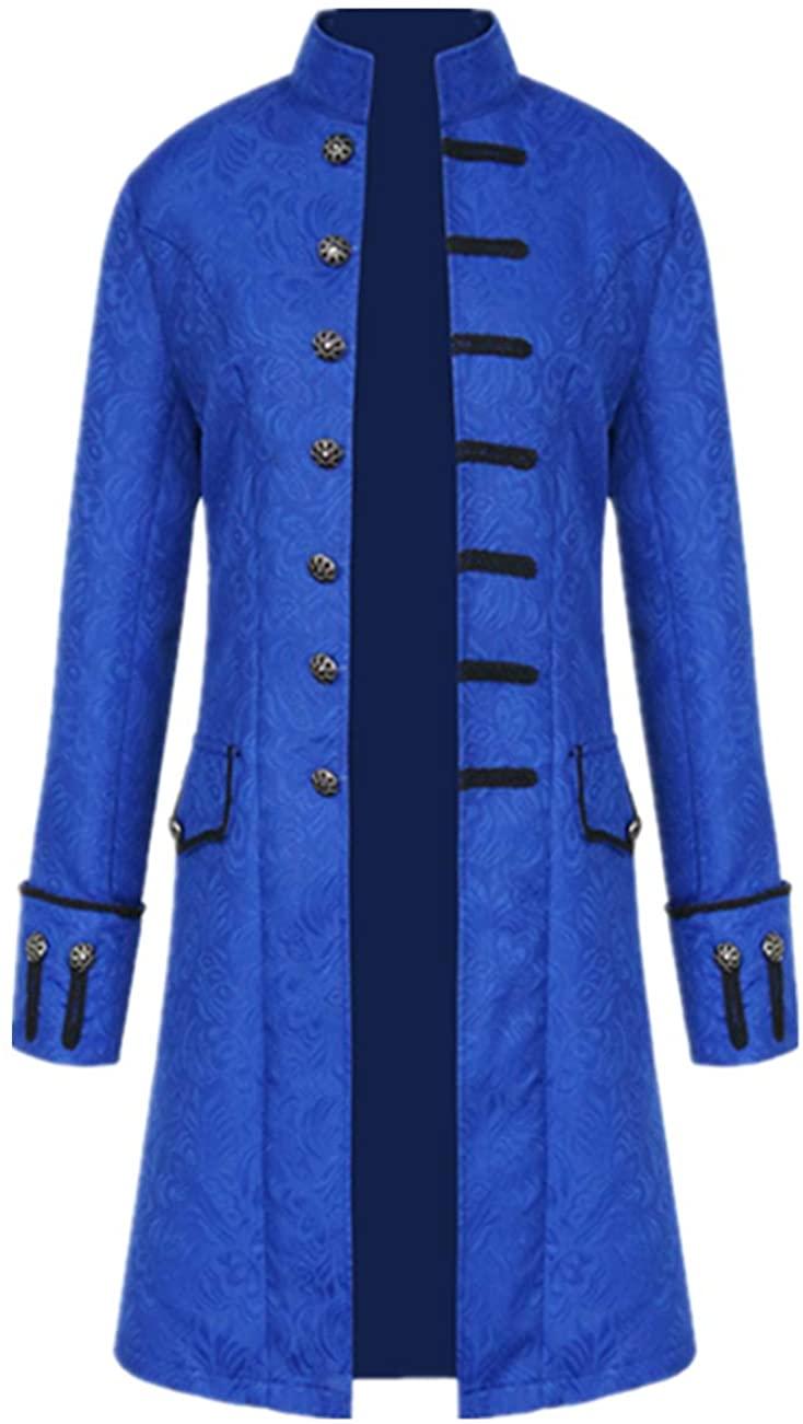 Tinyones Men's Steampunk Vintage Tailcoat Jacket Gothic Victorian Frock Coat Uniform Halloween Costume