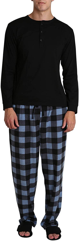 SLEEPHERO Mens 4 Piece Long Sleeve Shirt with Fleece Bottom and Adjustable Slipper House Shoes