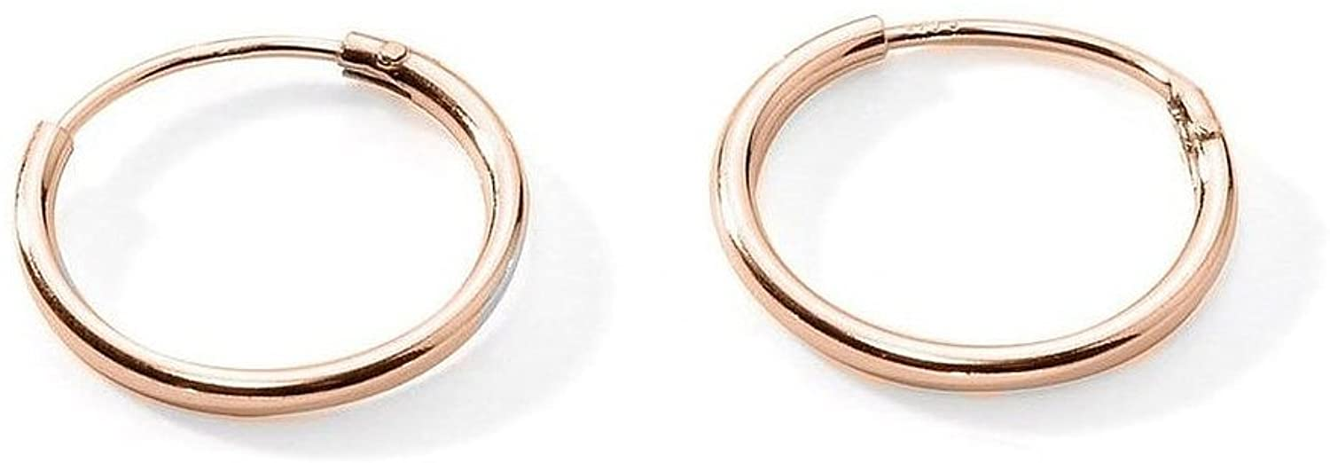 Rose Flash Gold Plated Sterling Silver Small Endless Hoop Earrings Cartilage Nose Lips .47 Inch 12mm