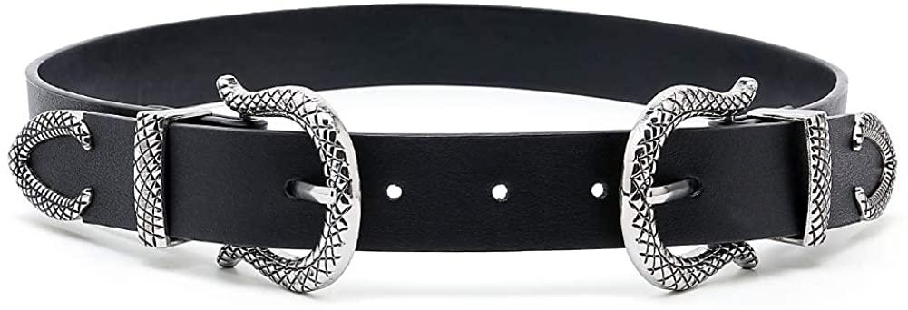 Tanpie Women Western Belts Ladies Vintage Design Buckle Black Belt for Jeans Pants Dress