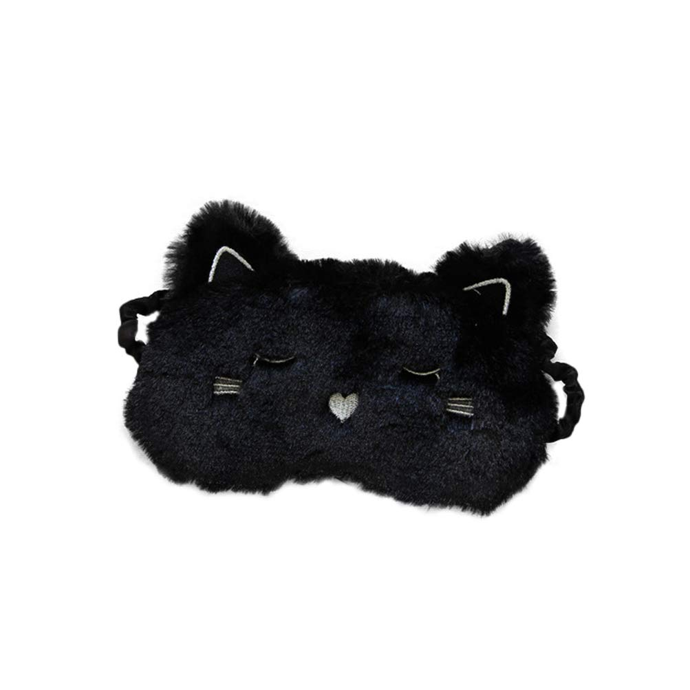 Minkissy Plush Lovely Eye Mask Elastic Comfort Eye Patch Cotton Warm Soft Sleep Eye Mask Lightweight Eye Cover (Black Dog)