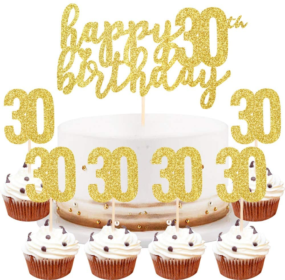 LVEUD Happy Birthday Cake Topper Golden 30th Birthday Happy Cake Topper,Digital 30 Paper Cup Cake Topper,Birthday Party Decorations(1+6) (30)