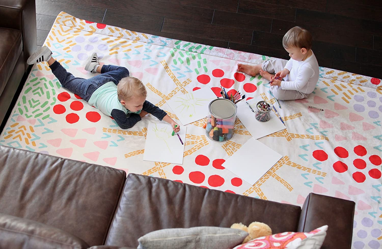 Tinseltot Plush Velvety 'Arts & Crafts' Machine Washable, Non-Toxic Playmat and Protective Rug Slipcover, 4' x 6'