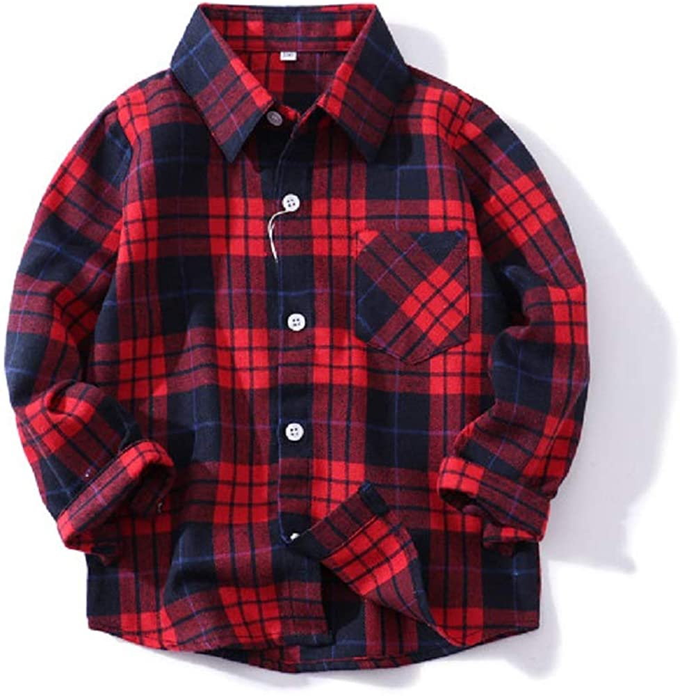 Toddler Baby Boys Girls Christmas Outfits Plaid Flannel Shirt Long Sleeve T-Shirt Tops Kid Clothes