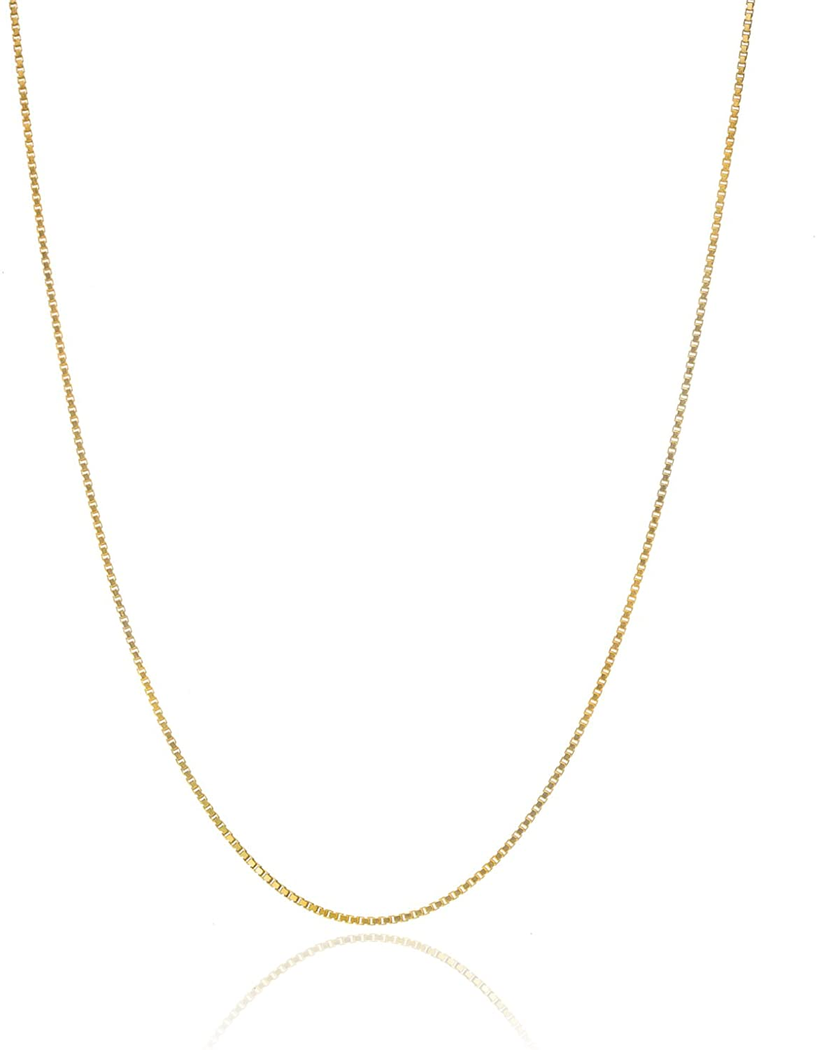 Bling For Your Buck 18K Gold Over Sterling Silver .8mm Thin Italian Box Chain Necklace 14