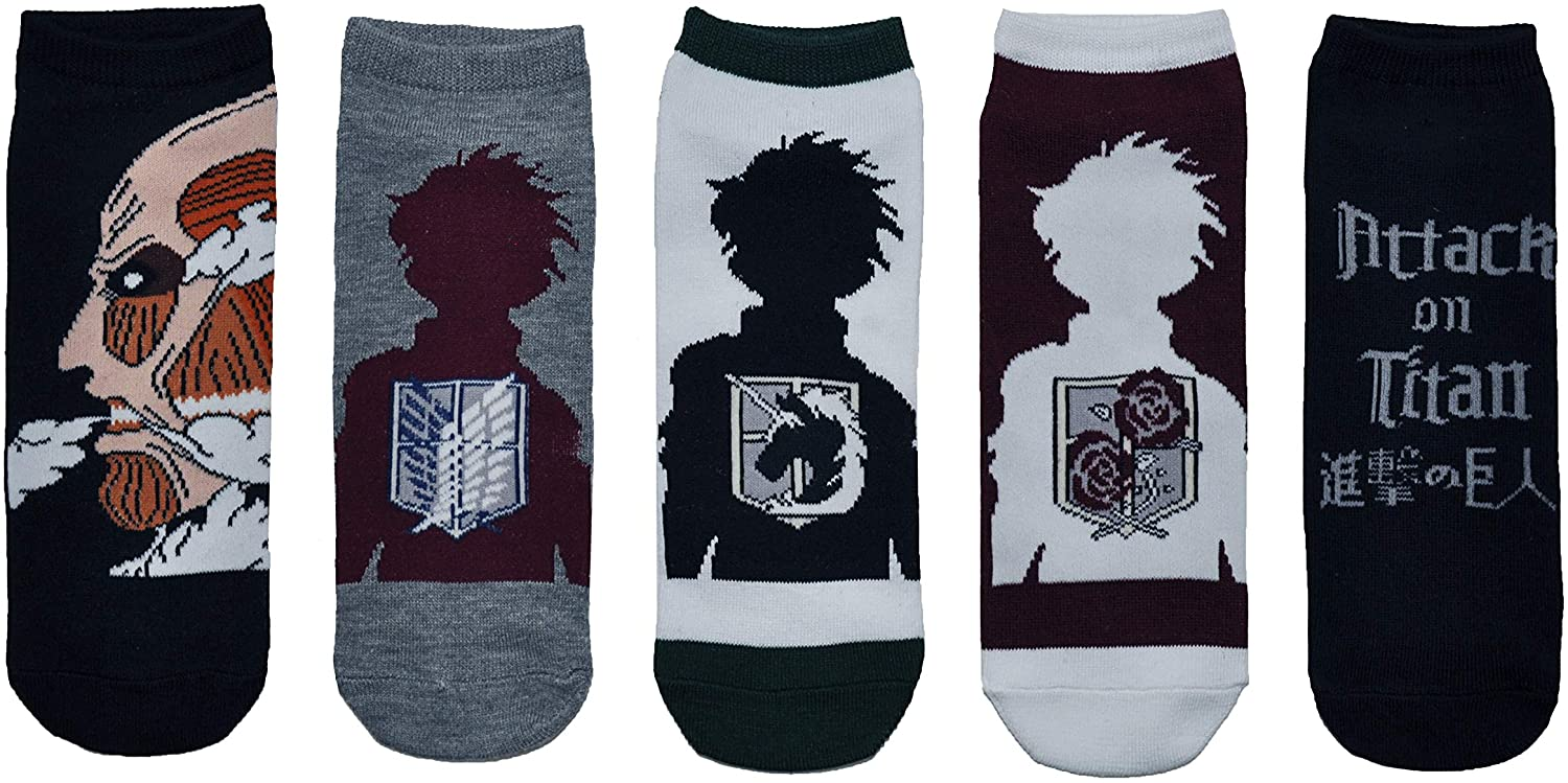 Attack on Titan Socks Cosplay (5 Pair) - (1 Size) Attack on Titan Merchandise Low Cut Socks Costume Women & Men's