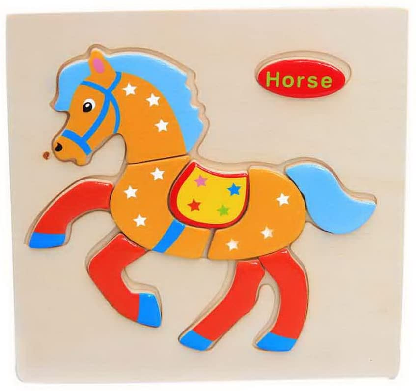 Gentle Meow Wooden Stereo Puzzles Kids Building Block Puzzle Horse Puzzle + Butterfly Puzzle