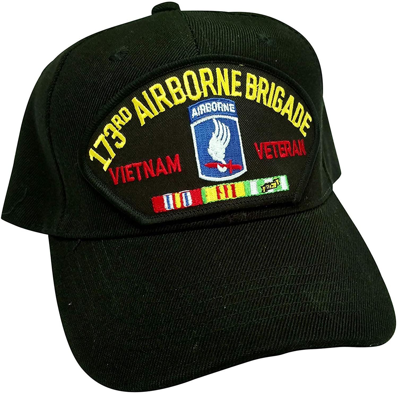 US Army 173rd Airborne Brigade Division Vietnam Veteran w/Service Ribbons Low Profile Adjustable Ball Cap Black