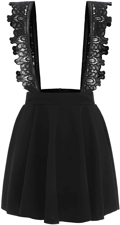 WDIRARA Women's Lace Straps High Waist Flared Suspender Skirts Pinafore Overall Dress