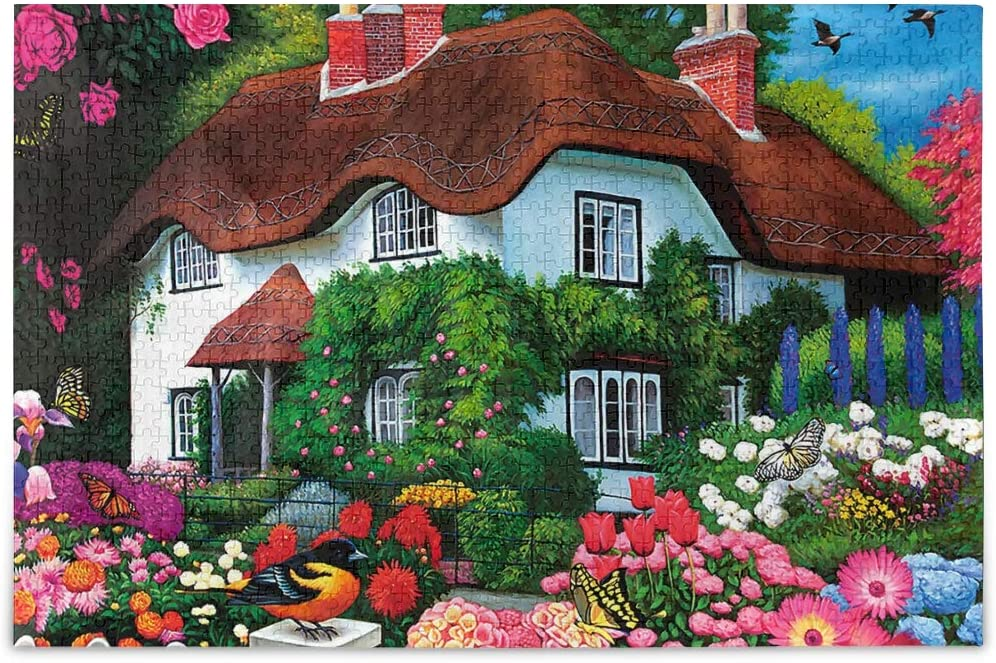 1000 Pieces Jigsaw Puzzles for Adults Kids- Farmhouse Garden Puzzle Difficult and Challenge for Adult Teen Families Learning Educational Puzzles Toys with Mesh Storage Bag 2011909