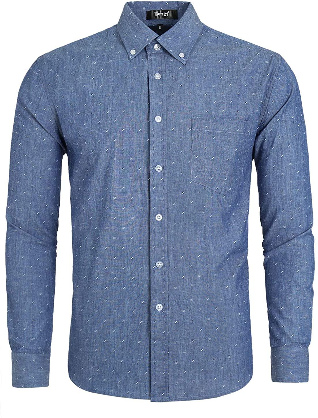 TATT 21 Men Denim Shirt Pocket Weave Casual Cotton Long Sleeve Button Down Work Shirts