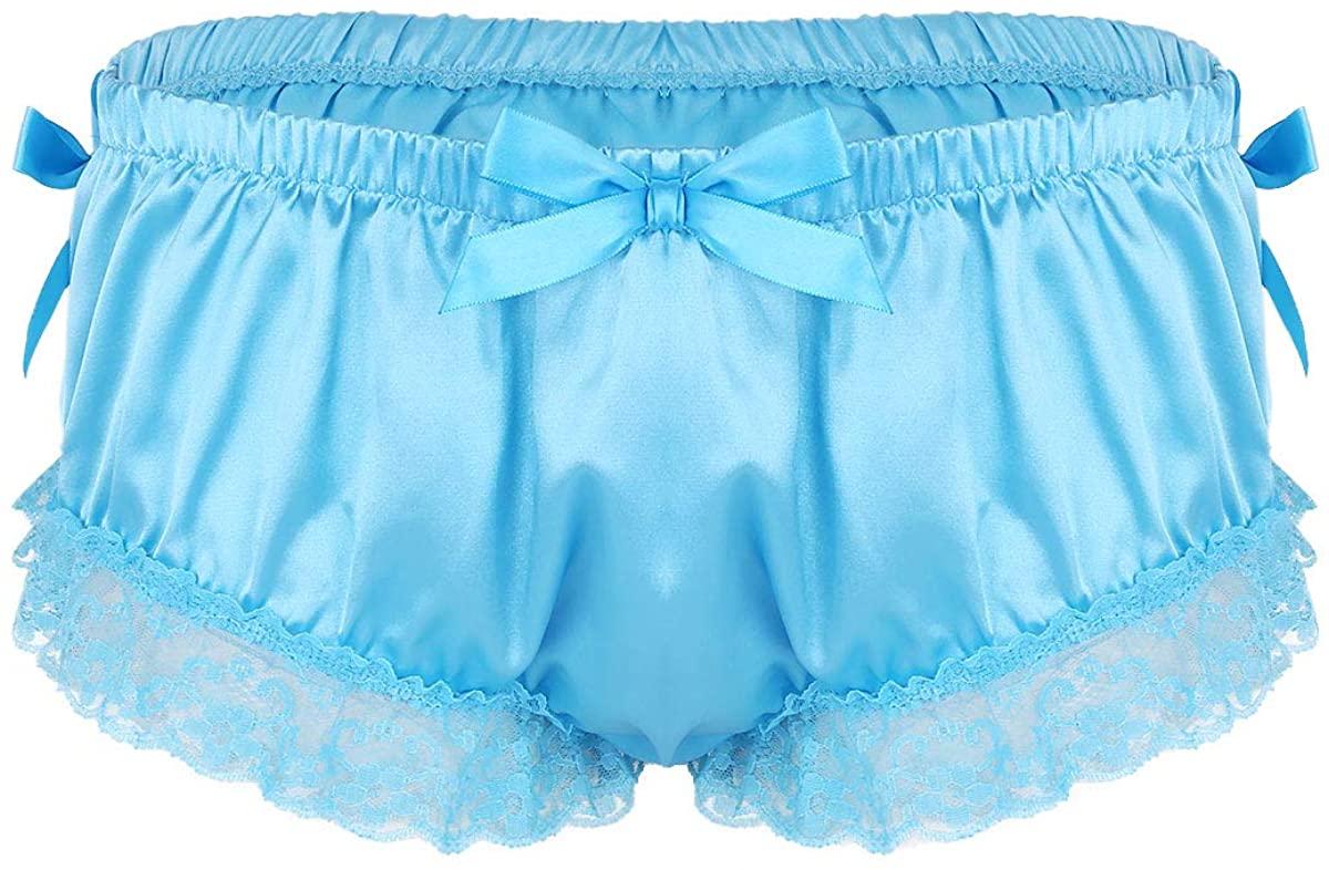TTAO Men's Shiny Soft Satin Sissy Panties Ruffled Floral Lace Bowknot Knickers Briefs Underwear