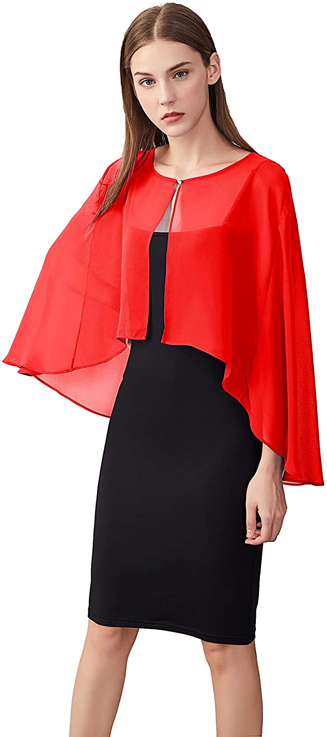 Women's Open Front Soft Chiffon Shrug Wraps for Evening Bridal Party and Dresses