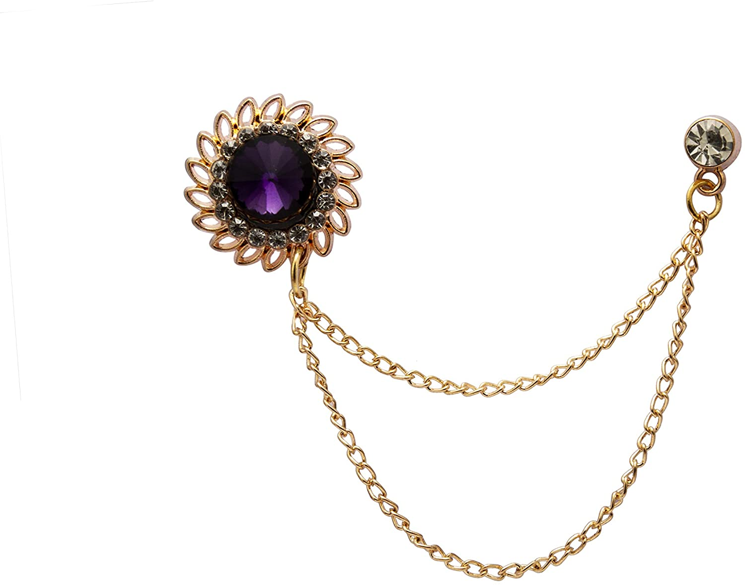 AN KINGPiiN Lapel Pin for Men Stone with Crystal Engraving and Hanging Chain Brooch Suit Stud, Shirt Studs Men's Accessories (Purple)