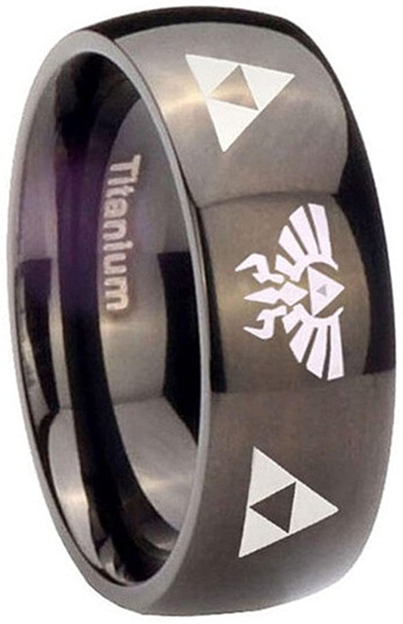 Ku The Legend of Zelda Titanium Steel Triforce Costume Ring Black