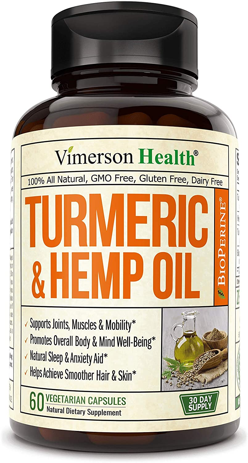 Turmeric Curcumin with Hemp Oil Powder and Bioperine. Joint Pain Relief, Anti Inflammator. Stress and Sleep Support Supplement with Curcuminoids and Black Pepper. 60 Capsules