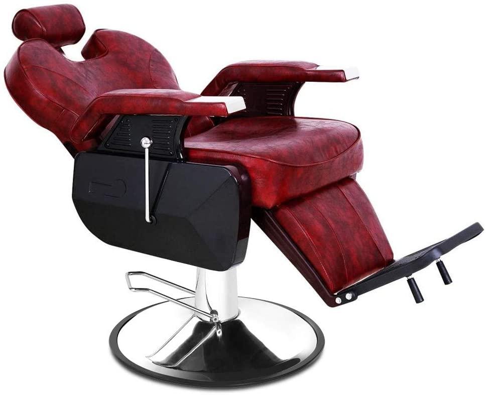 Carambola Barber Chair, Heavy Duty Hydraulic Recline Salon Chair for Hair Stylist Equipment (Burgundy)