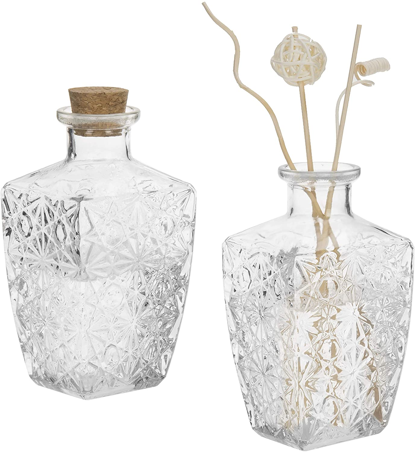 MyGift Diamond-Faceted Clear Glass Diffuser Bottles with Cork Lids, Set of 2
