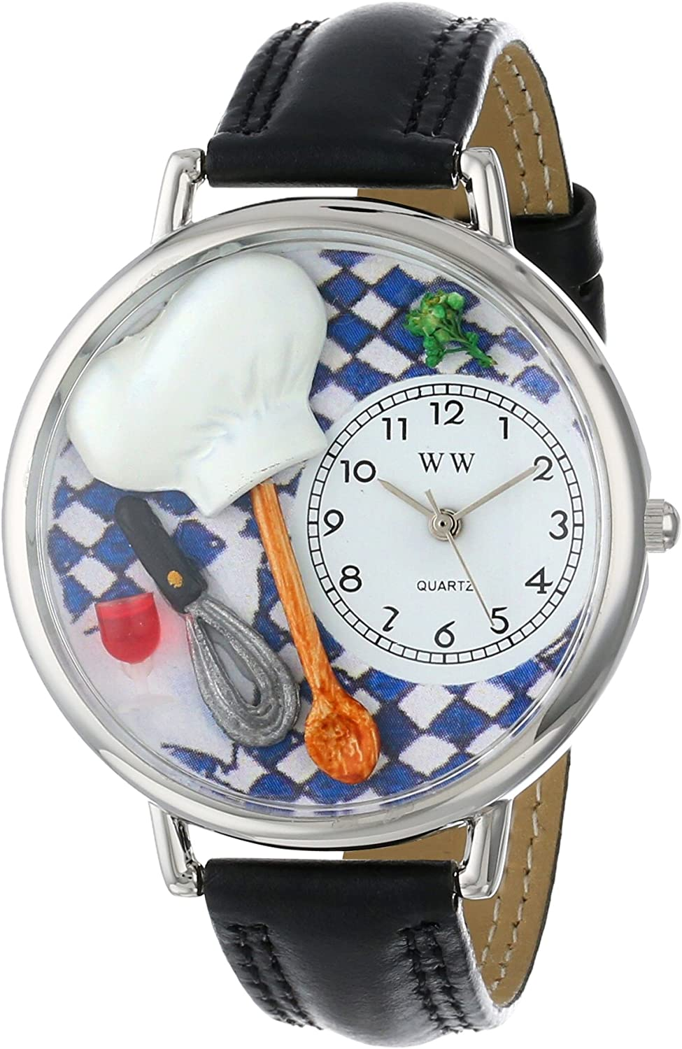 Whimsical Watches Unisex U0310002 Chef Black Skin Leather Watch