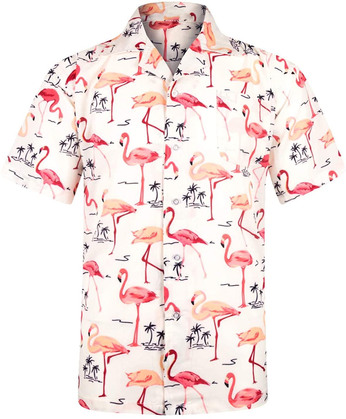 ZHPUAT Men's Funky Hawaiian Shirt Short Sleeve Button Down Tropical Print Shirts Beach Party Holiday