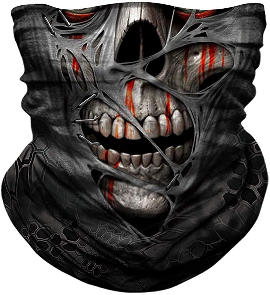 YOSUNPING Seamless Bandana Skull Skeleton Flag Face Mask