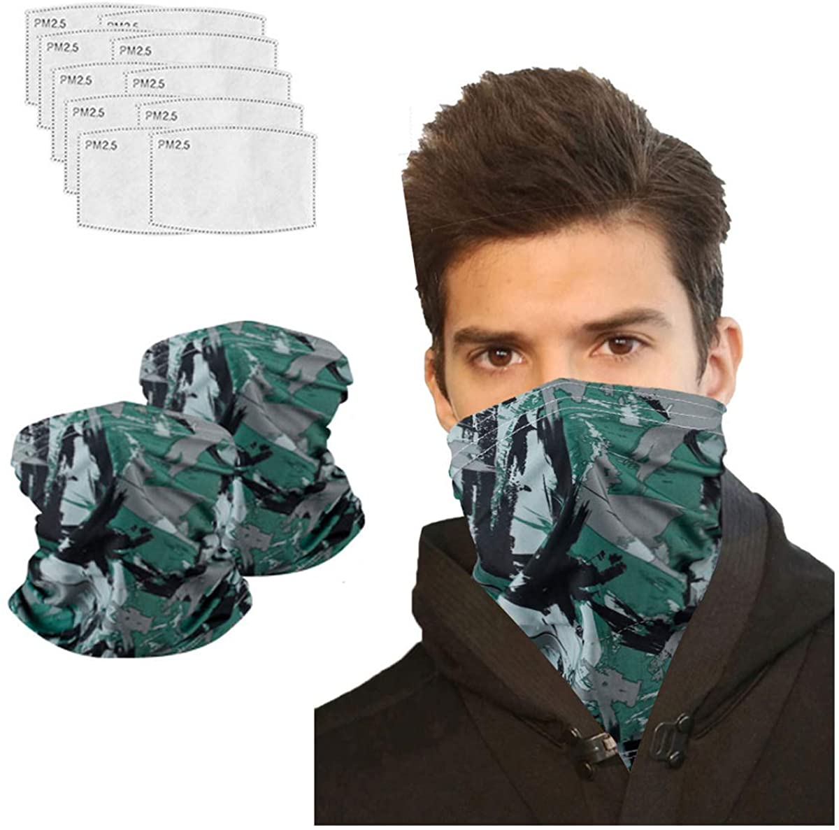 Neck Gaiter with Carbon Filter, UV Protection Face Cover for Hot Summer Cycling Hiking Outdoor Sport
