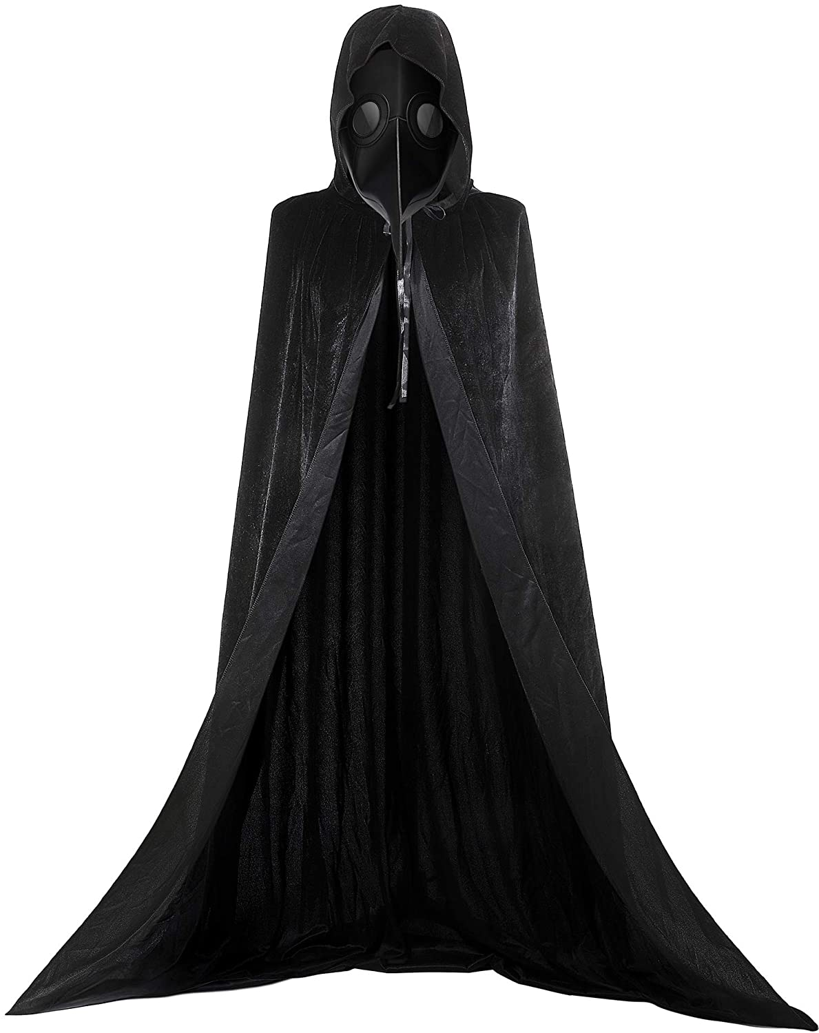 Bird Mask with Cloak Kit Long Velvet Hooded Cape and Long Nose Beak Cosplay Steampunk Halloween Costume Props Black