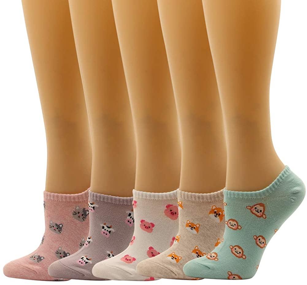 Lip Space Pet Hart Pattern Low Cut Women Socks Non Slip Fun Design Crazy For Teen Girl