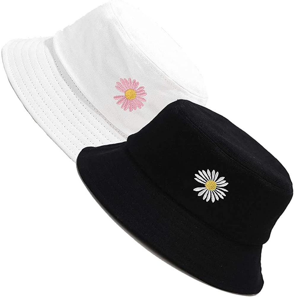 MaxNova Bucket Hats for Women Embroidery Travel Beach Sun Hat Outdoor Cap Unisex 2pack
