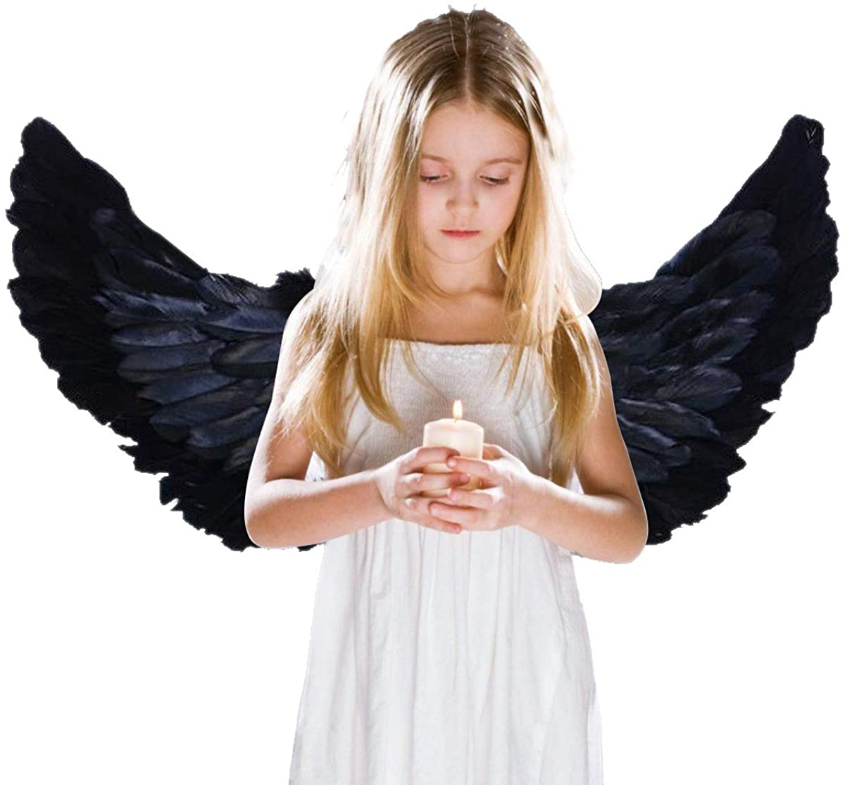 AOOTOOSPORT Children's Black Feathers Angel Wings Costumes for Cosplay Halloween Party