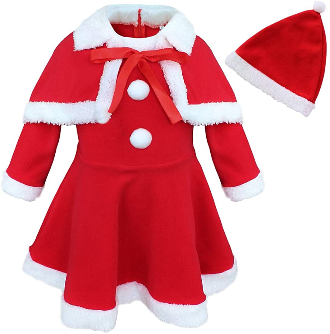 JanJean Baby Girls Christmas Mrs Santa Claus Cosplay Costume Princess Dress with Shawl Hat Xmas Party Fancy Dress Outfit