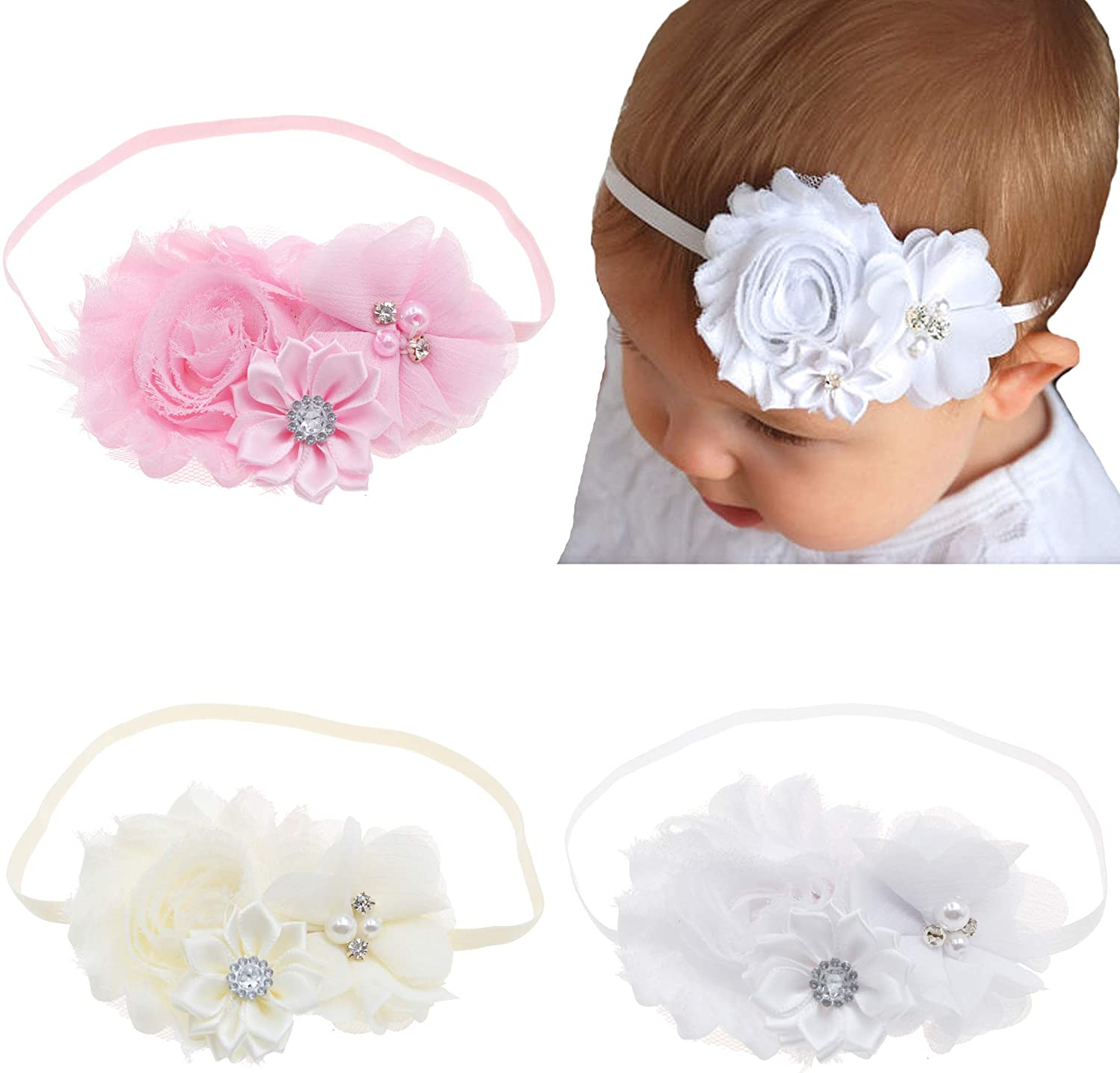 Bloomposh Baby Girl Thin Elastic Headbands with Bows 3pcs/lot