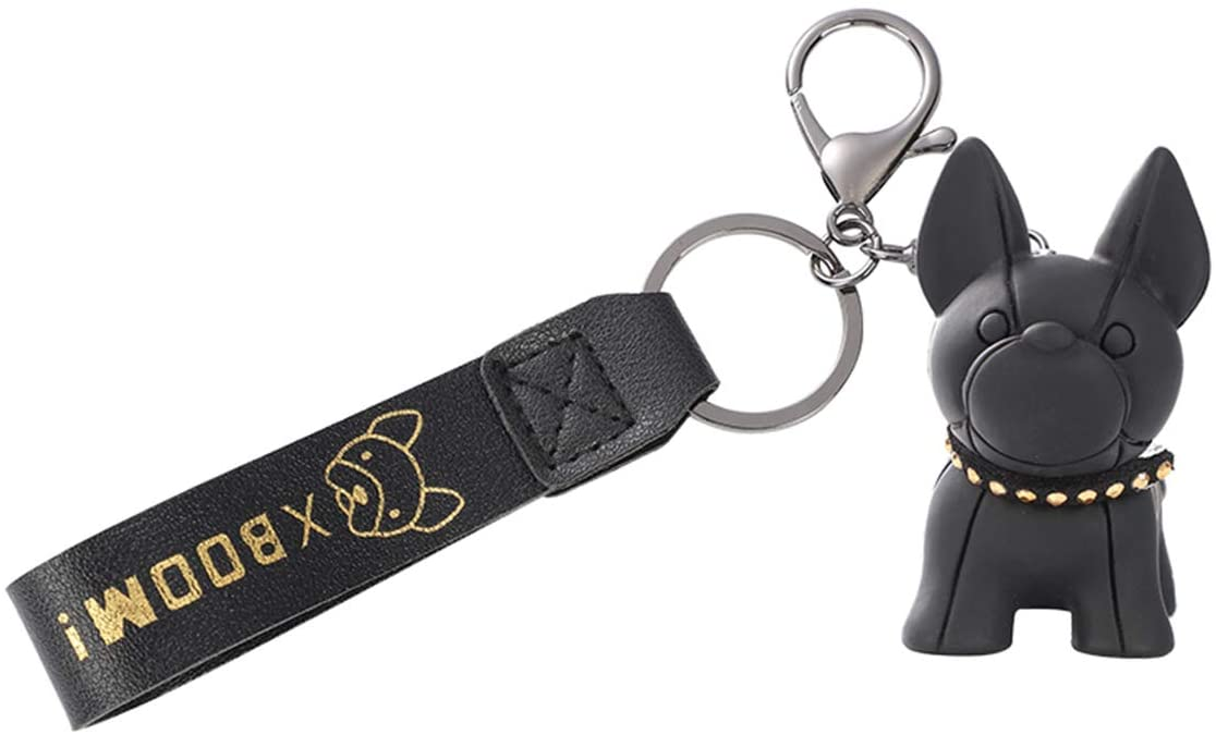 French Bulldog Rubber Keychain, Car Key Chain Keychain Accessories Purse Hand bag Backpack Charm Gift for Women, Kids (Black)