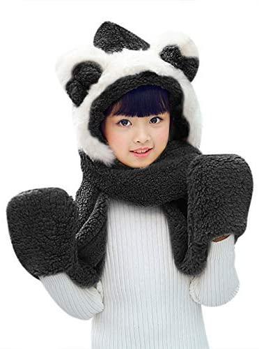Cartoon Animal Hood Hat Scarf Gloves Set Winter Earflap Hoodied Beanie Cap Set