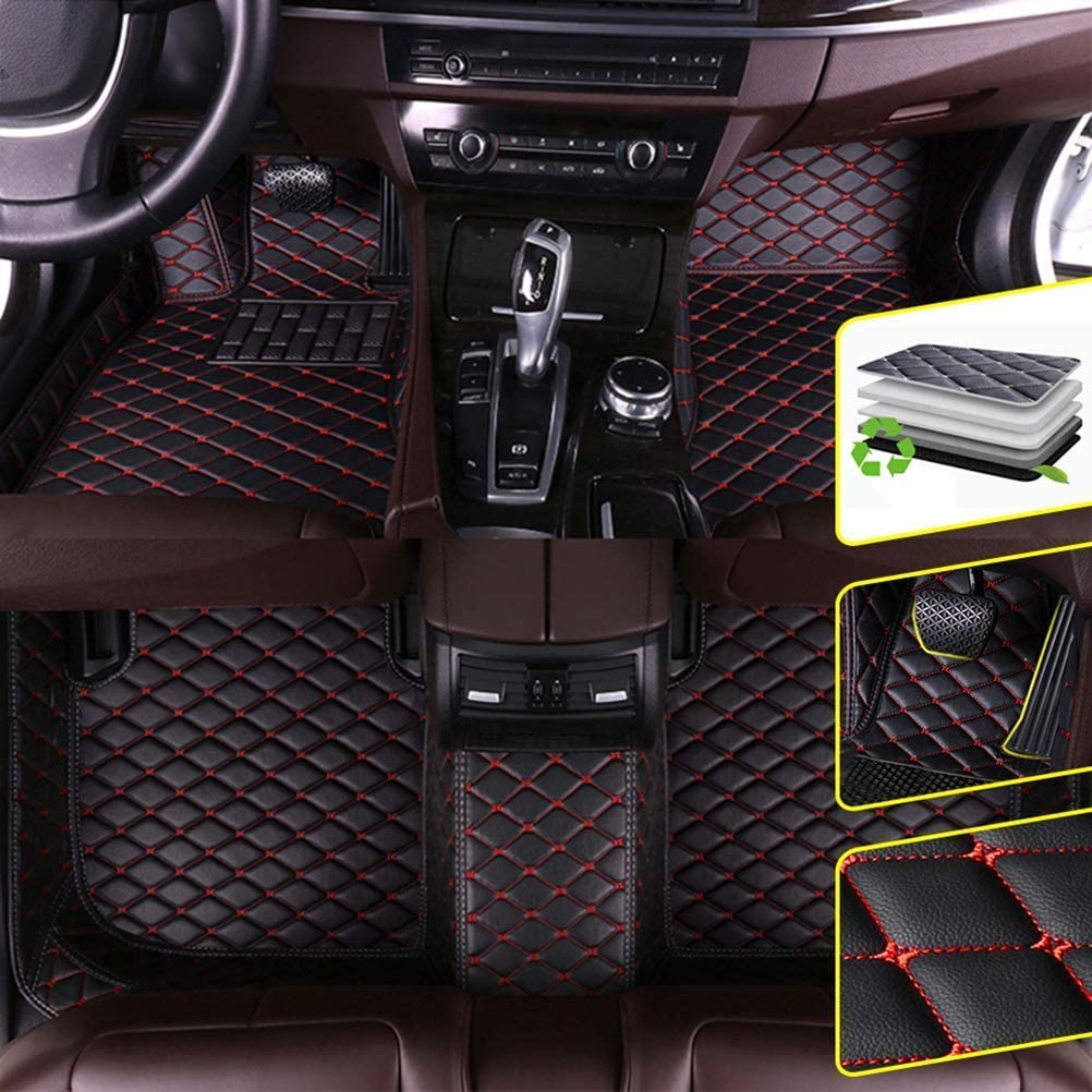 DBL Custom Car Floor Mats for Lexus 16-17 RX(Rear Row no air Outlet) Waterproof Non-Slip Leather Carpets Automotive Interior Accessories 1 Set Black & Red