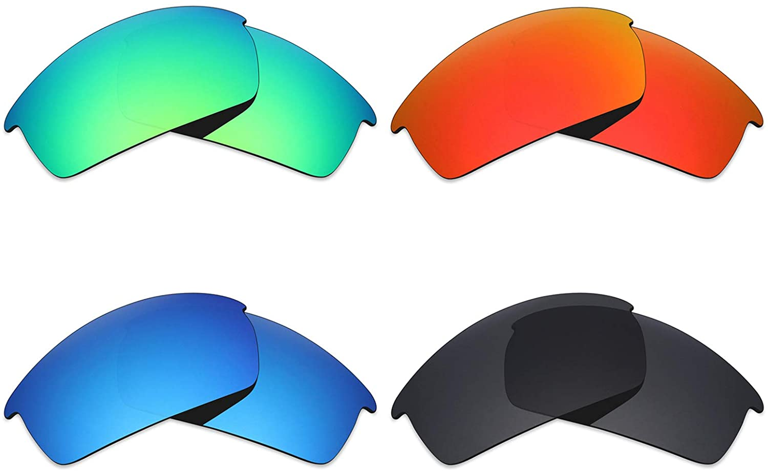 Mryok 4 Pair Polarized Replacement Lenses for Oakley Bottlecap Sunglass - Stealth Black/Fire Red/Ice Blue/Emerald Green