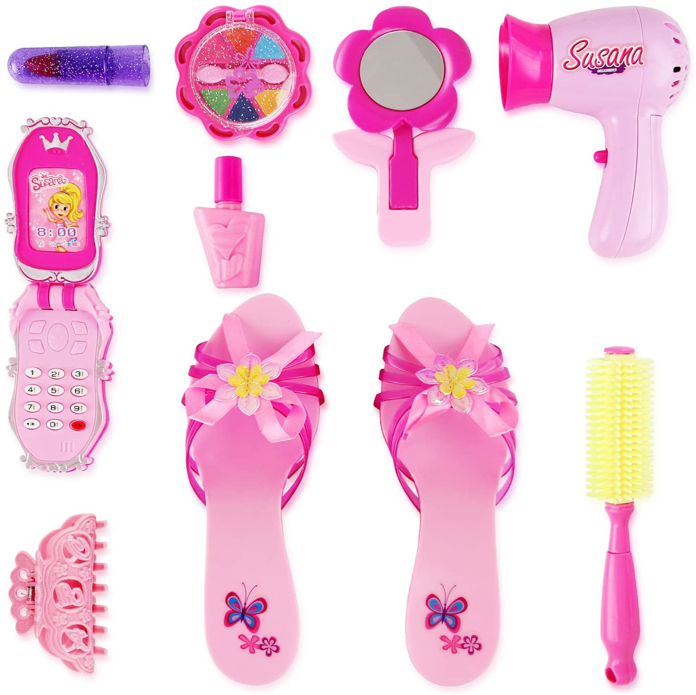 Liberty Imports Stylish Little Princess Dress Up - Beauty Vanity Realistic Pretend Play Set - Ideal Imaginative Pink Fashion Kit for Girls with Hair Dryer, Shoes and Accessories